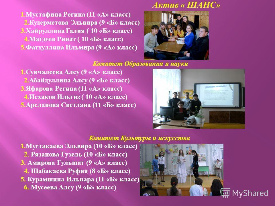 Актив « ШАНС » 1. Мустафина Регина (11 « А » класс ) 2. Кудерметова Эльвира (9 « Б » класс ) 3. Хайруллина Галия ( 10 « Б » класс ) 4. Магдеев Ринат ( 10 « Б » класс ) 5. Фатхуллина Ильмира (9 « А » класс ) Комитет Образования и науки 1. Сунчалеева А