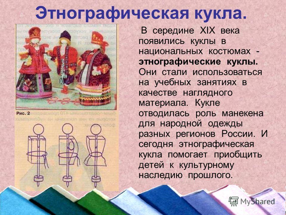 Этнографическая кукла. В середине ХIХ века появились куклы в национальных костюмах - этнографические куклы. Они стали использоваться на учебных занятиях в качестве наглядного материала. Кукле отводилась роль манекена для народной одежды разных регион