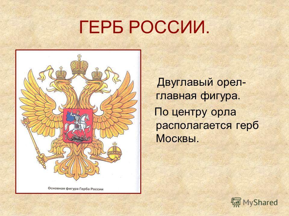 ГЕРБ РОССИИ. Двуглавый орел- главная фигура. По центру орла располагается герб Москвы.