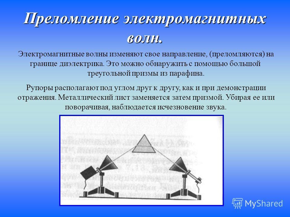 Преломление электромагнитных волн. Электромагнитные волны изменяют свое направление, (преломляются) на границе диэлектрика. Это можно обнаружить с помощью большой треугольной призмы из парафина. Рупоры располагают под углом друг к другу, как и при де