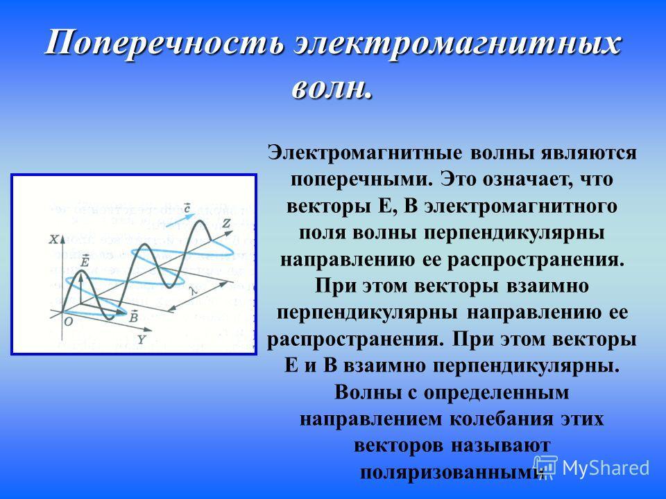 Поперечность электромагнитных волн. Электромагнитные волны являются поперечными. Это означает, что векторы Е, В электромагнитного поля волны перпендикулярны направлению ее распространения. При этом векторы взаимно перпендикулярны направлению ее распр