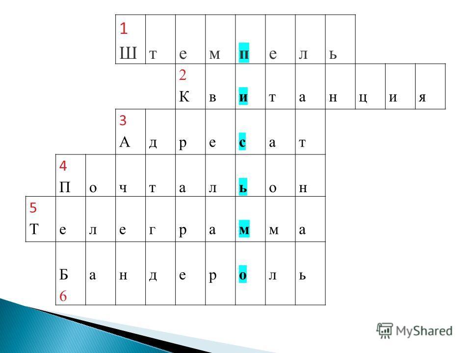 1Ш1Штемпель 2К2Квитанция 3А3Адресат 4П4Почтальон 5Т5Телеграмма Б6Б6 андероль