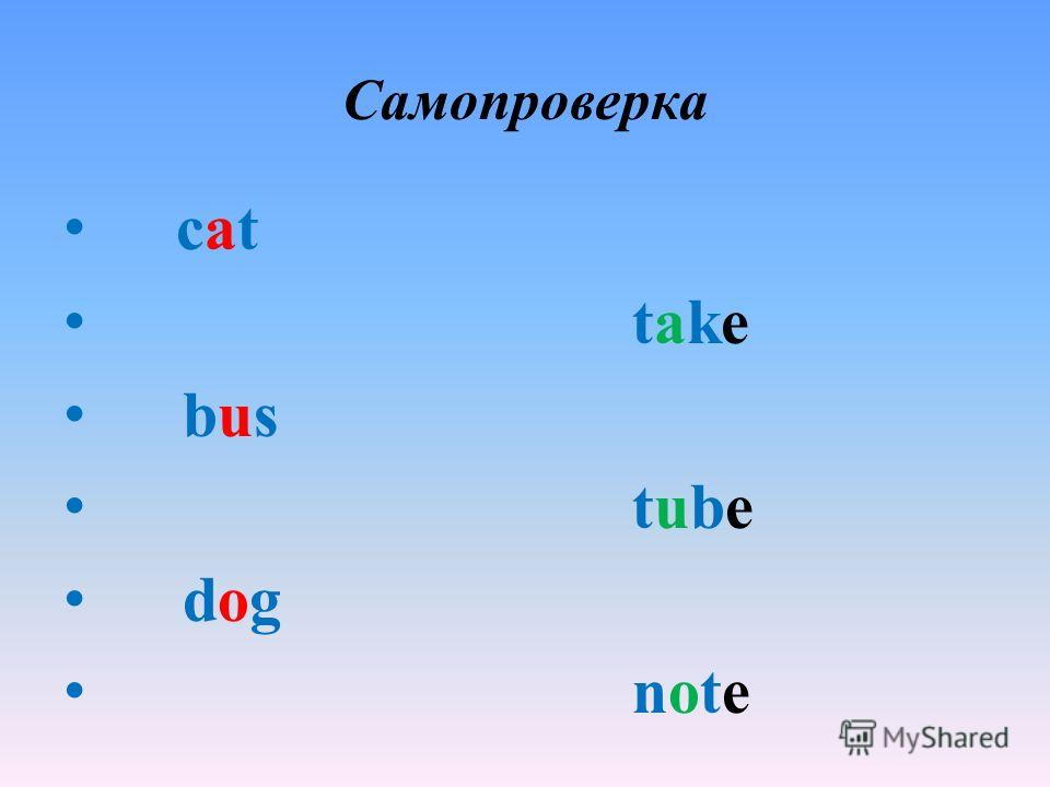 Самопроверка cat take bus tube dog note