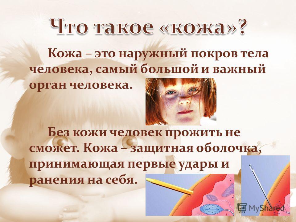 Кожа – это наружный покров тела человека, самый большой и важный орган человека. Без кожи человек прожить не сможет. Кожа – защитная оболочка, принимающая первые удары и ранения на себя.
