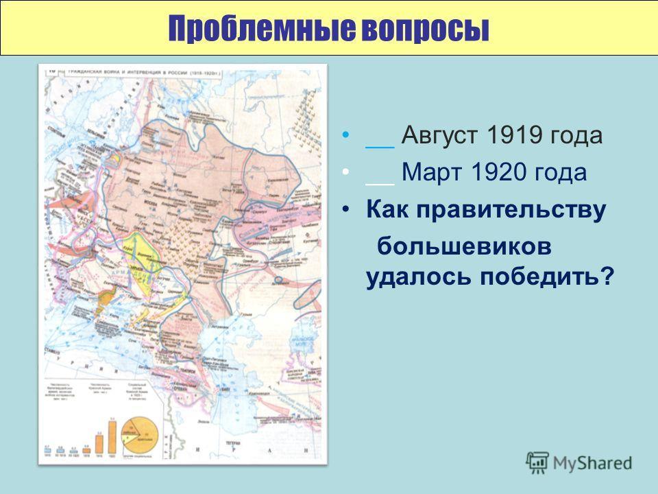__ Август 1919 года __ Март 1920 года Как правительству большевиков удалось победить? Проблемные вопросы