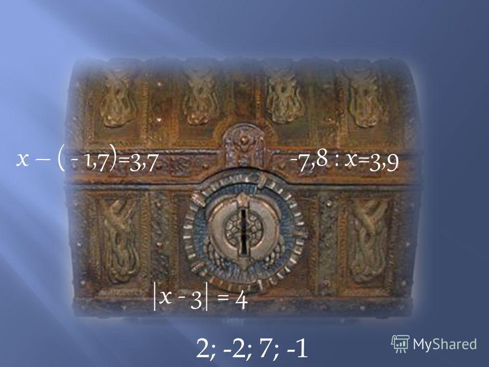 х – ( - 1,7)=3,7-7,8 : х=3,9 |х - 3| = 4 2; -2; 7; -1