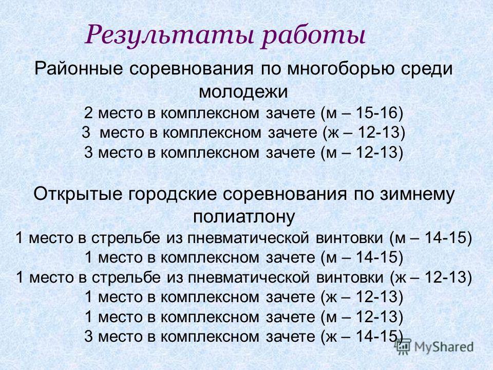 Районные соревнования по многоборью среди молодежи 2 место в комплексном зачете (м – 15-16) 3 место в комплексном зачете (ж – 12-13) 3 место в комплексном зачете (м – 12-13) Открытые городские соревнования по зимнему полиатлону 1 место в стрельбе из