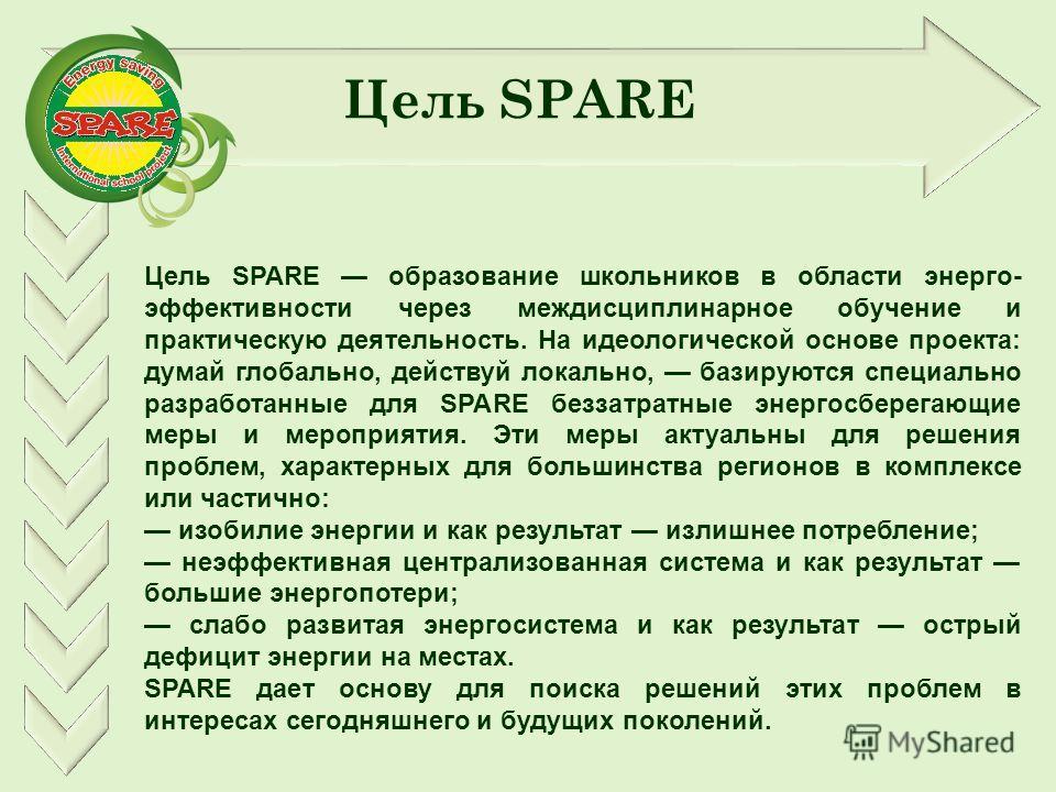 Цель SPARE Цель SPARE образование школьников в области энерго- эффективности через междисциплинарное обучение и практическую деятельность. На идеологической основе проекта: думай глобально, действуй локально, базируются специально разработанные для S