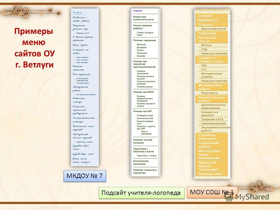 Примеры меню сайтов ОУ г. Ветлуги МКДОУ 7 МОУ СОШ 1 Подсайт учителя-логопеда