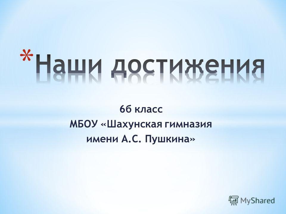 6б класс МБОУ «Шахунская гимназия имени А.С. Пушкина»