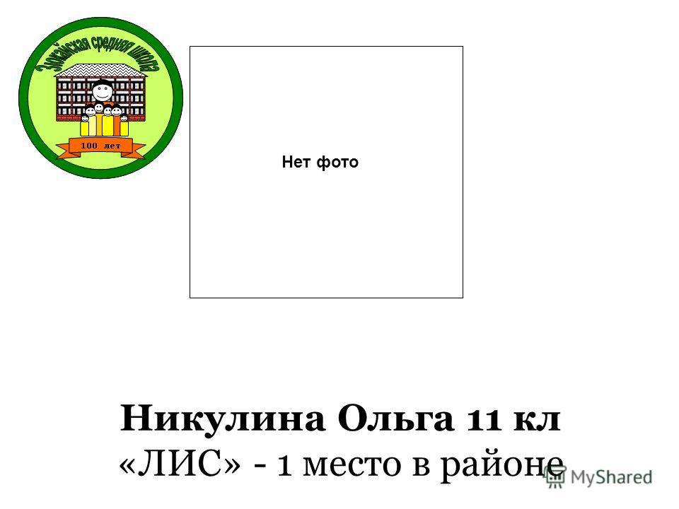 Никулина Ольга 11 кл «ЛИС» - 1 место в районе Нет фото