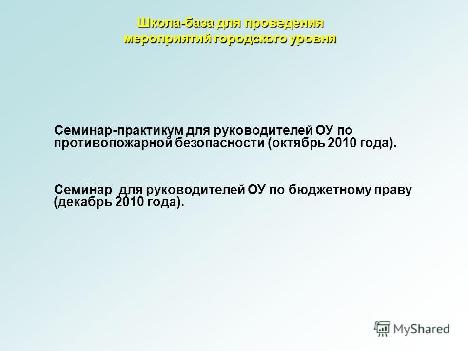 Школа-база для проведения мероприятий городского уровня Семинар-практикум для руководителей ОУ по противопожарной безопасности (октябрь 2010 года). Семинар для руководителей ОУ по бюджетному праву (декабрь 2010 года).