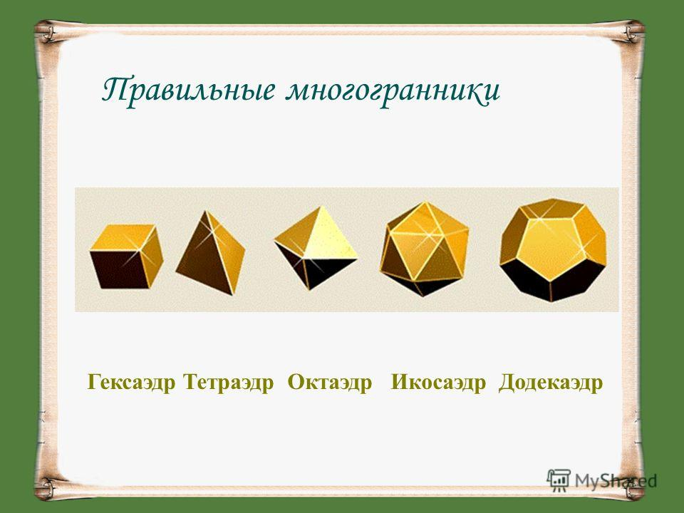 Правильные многогранники Гексаэдр Тетраэдр Октаэдр Икосаэдр Додекаэдр