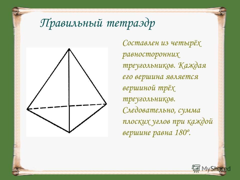 Правильный тетраэдр Составлен из четырёх равносторонних треугольников. Каждая его вершина является вершиной трёх треугольников. Следовательно, сумма плоских углов при каждой вершине равна 180º.