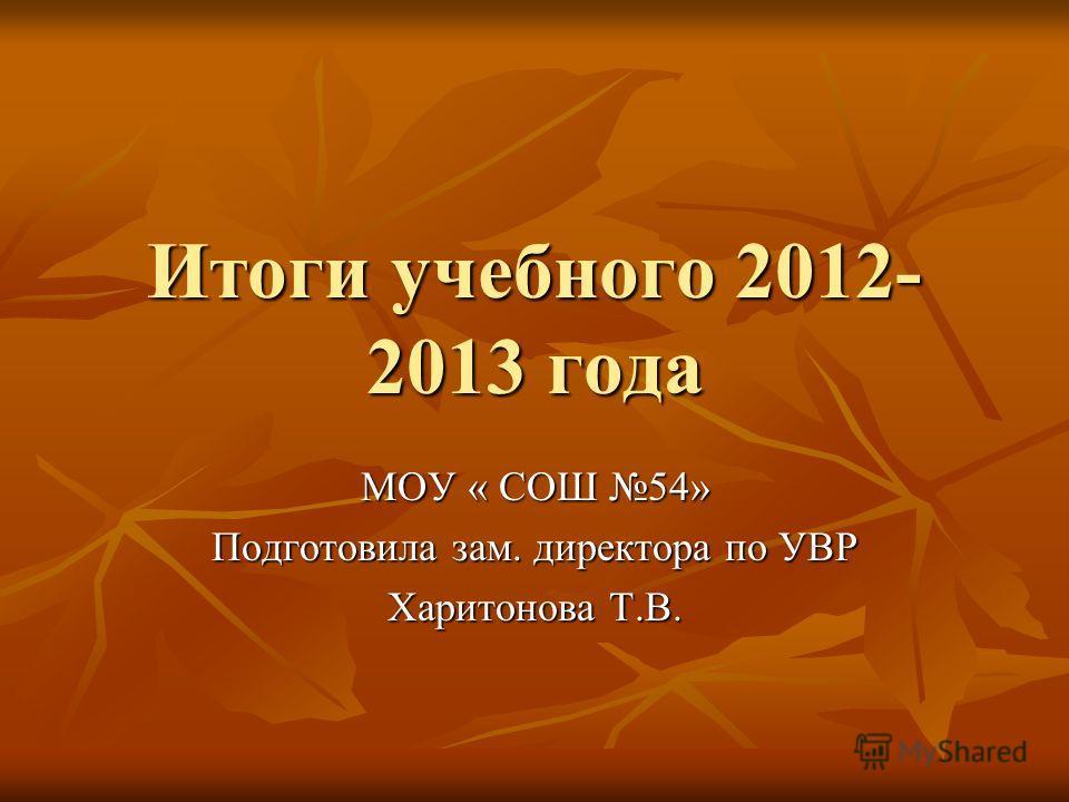 Итоги учебного 2012- 2013 года МОУ « СОШ 54» Подготовила зам. директора по УВР Харитонова Т.В.
