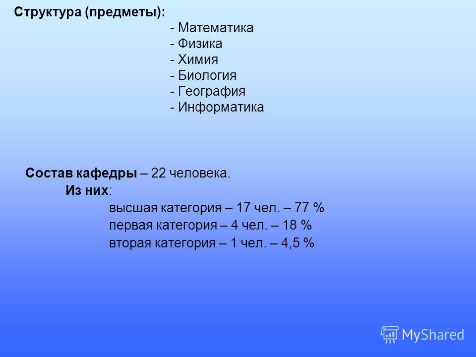 Структура (предметы): - Математика - Физика - Химия - Биология - География - Информатика Состав кафедры – 22 человека. Из них: высшая категория – 17 чел. – 77 % первая категория – 4 чел. – 18 % вторая категория – 1 чел. – 4,5 %