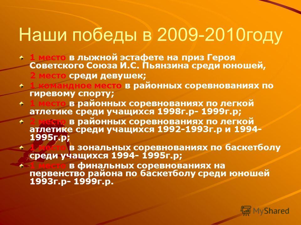 Наши победы в 2009-2010году 1 место в лыжной эстафете на приз Героя Советского Союза И.С. Пьянзина среди юношей, 2 место среди девушек; 1 командное место в районных соревнованиях по гиревому спорту; 1 место в районных соревнованиях по легкой атлетике