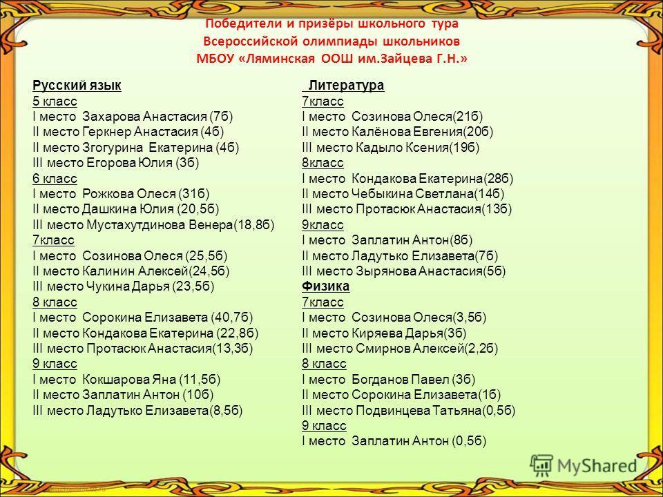 Проводился школьный тур олимпиады по математике 5-9 классы, русскому языку 5-9 классы, литературе 7-9 классы, истории 7-9 классы, обществознанию 7-9 классы, биологии 7-9 классы, химии 8-9 классы, физике 7-9 классы, ОБЖ 8-9 класс, немецкому языку 7-9