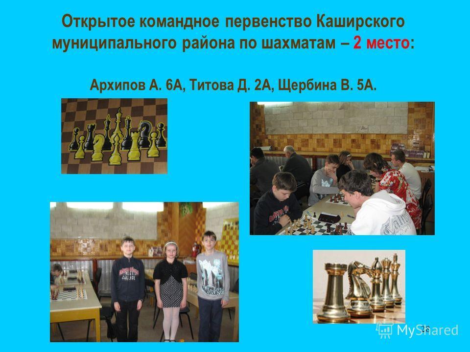 28 Открытое командное первенство Каширского муниципального района по шахматам – 2 место: Архипов А. 6А, Титова Д. 2А, Щербина В. 5А.