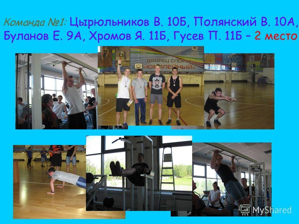 38 Команда 1: Цырюльников В. 10Б, Полянский В. 10А, Буланов Е. 9А, Хромов Я. 11Б, Гусев П. 11Б – 2 место