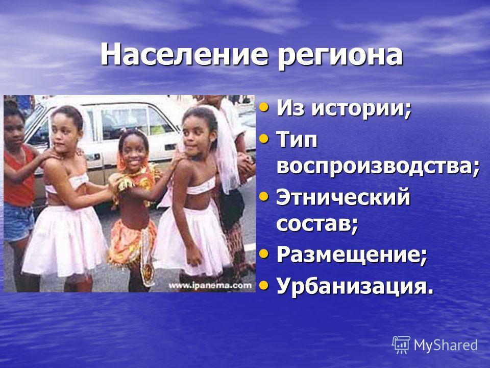Население региона Население региона Из истории; Из истории; Тип воспроизводства; Тип воспроизводства; Этнический состав; Этнический состав; Размещение; Размещение; Урбанизация. Урбанизация.