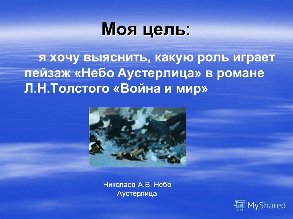 Моя цель: я хочу выяснить, какую роль играет пейзаж «Небо Аустерлица» в романе Л.Н.Толстого «Война и мир» Николаев А.В. Небо Аустерлица
