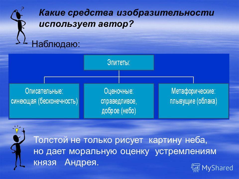 Какие средства изобразительности использует автор? Толстой не только рисует картину неба, но дает моральную оценку устремлениям князя Андрея. Наблюдаю: