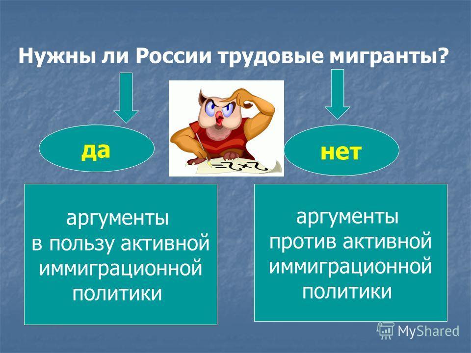 Нужны ли России трудовые мигранты? аргументы в пользу активной иммиграционной политики аргументы против активной иммиграционной политики да нет