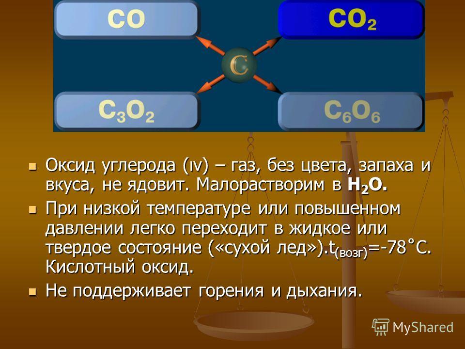 Оксид углерода (ıv) – газ, без цвета, запаха и вкуса, не ядовит. Малорастворим в Н 2 О. При низкой температуре или повышенном давлении легко переходит в жидкое или твердое состояние («сухой лед»).t (возг) =-78˚С. Кислотный оксид. Не поддерживает горе