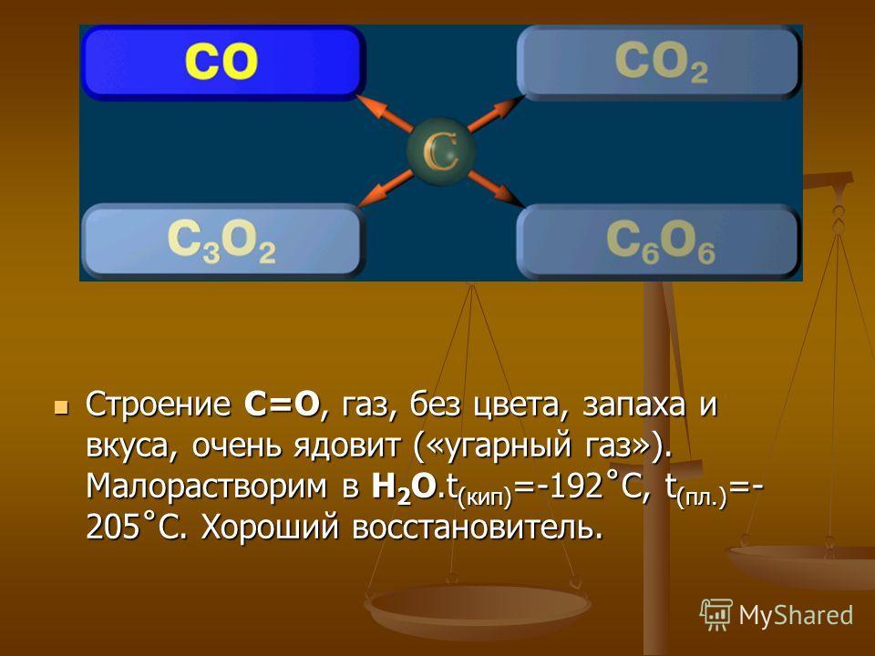 Строение С=О, газ, без цвета, запаха и вкуса, очень ядовит («угарный газ»). Малорастворим в Н 2 О.t (кип) =-192˚C, t (пл.) =- 205˚C. Хороший восстановитель.