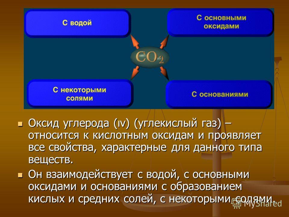 Оксид углерода (ıv) (углекислый газ) – относится к кислотным оксидам и проявляет все свойства, характерные для данного типа веществ. Он взаимодействует с водой, с основными оксидами и основаниями с образованием кислых и средних солей, с некоторыми со
