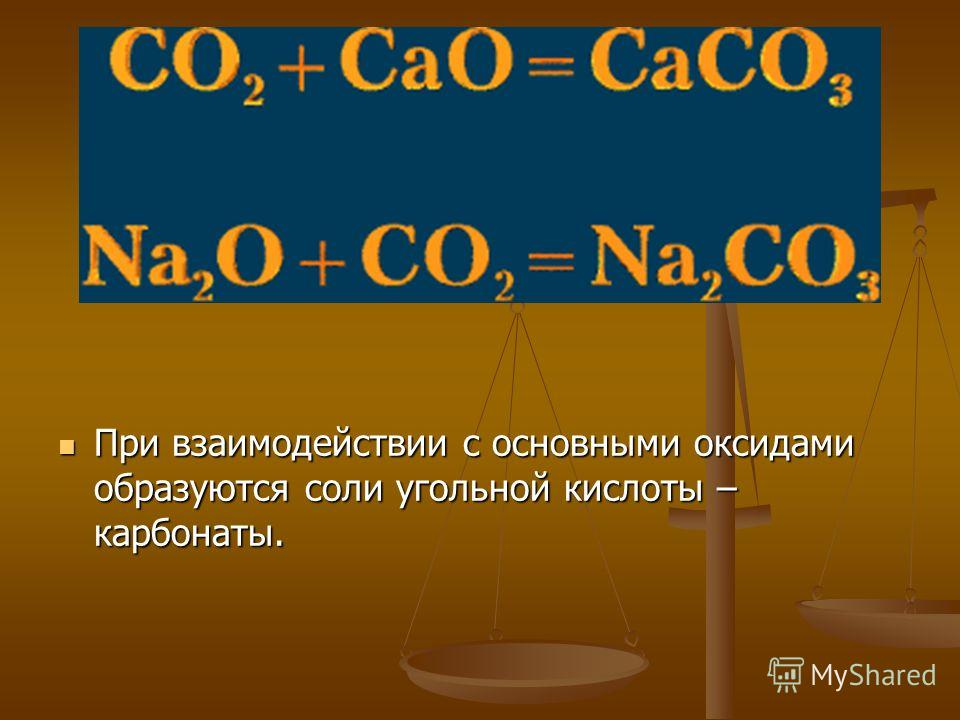 При взаимодействии с основными оксидами образуются соли угольной кислоты – карбонаты.