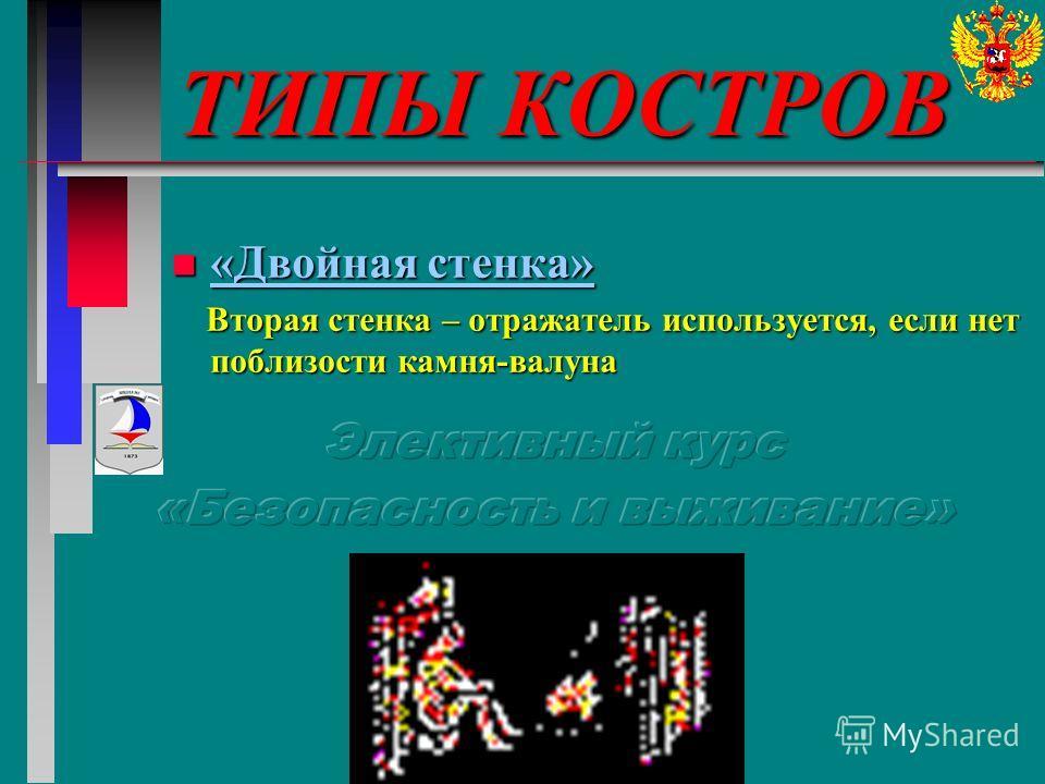 ТИПЫ КОСТРОВ n «Двойная стенка» Вторая стенка – отражатель используется, если нет поблизости камня-валуна