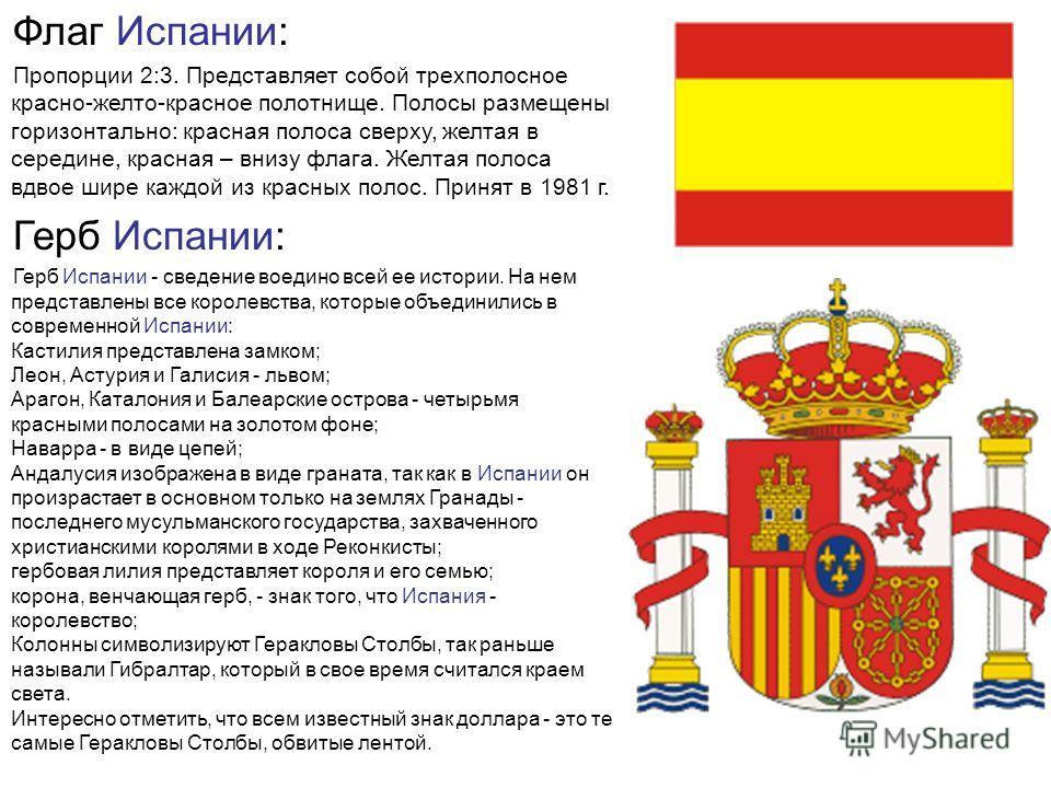 Флаг Испании: Пропорции 2:3. Представляет собой трехполосное красно-желто-красное полотнище. Полосы размещены горизонтально: красная полоса сверху, желтая в середине, красная – внизу флага. Желтая полоса вдвое шире каждой из красных полос. Принят в 1