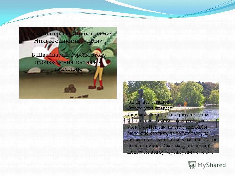 Сельма Лагерлеф «Приключения Нильса с дикими гусями» В Швейцарии героям этого произведения поставлен памятник. Отгадайте загадки: Отчего утка плавает? Летела стая уток, навстречу им одна утка «Здравствуйте, - говорит, - сто уток!» - «Нет, нас не сто