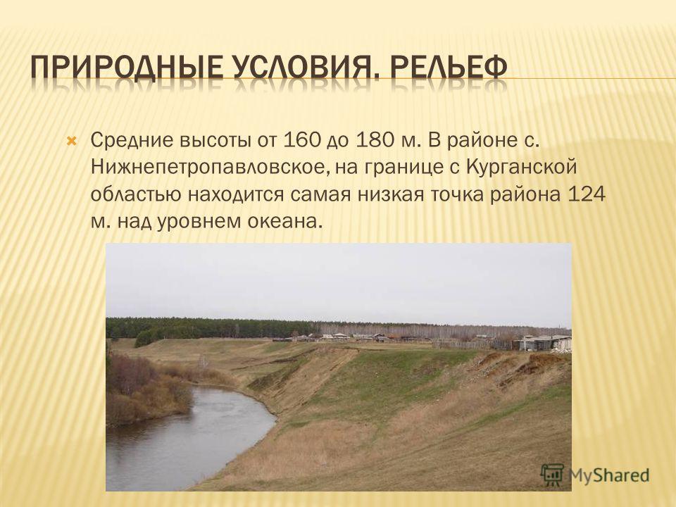 Средние высоты от 160 до 180 м. В районе с. Нижнепетропавловское, на границе с Курганской областью находится самая низкая точка района 124 м. над уровнем океана.