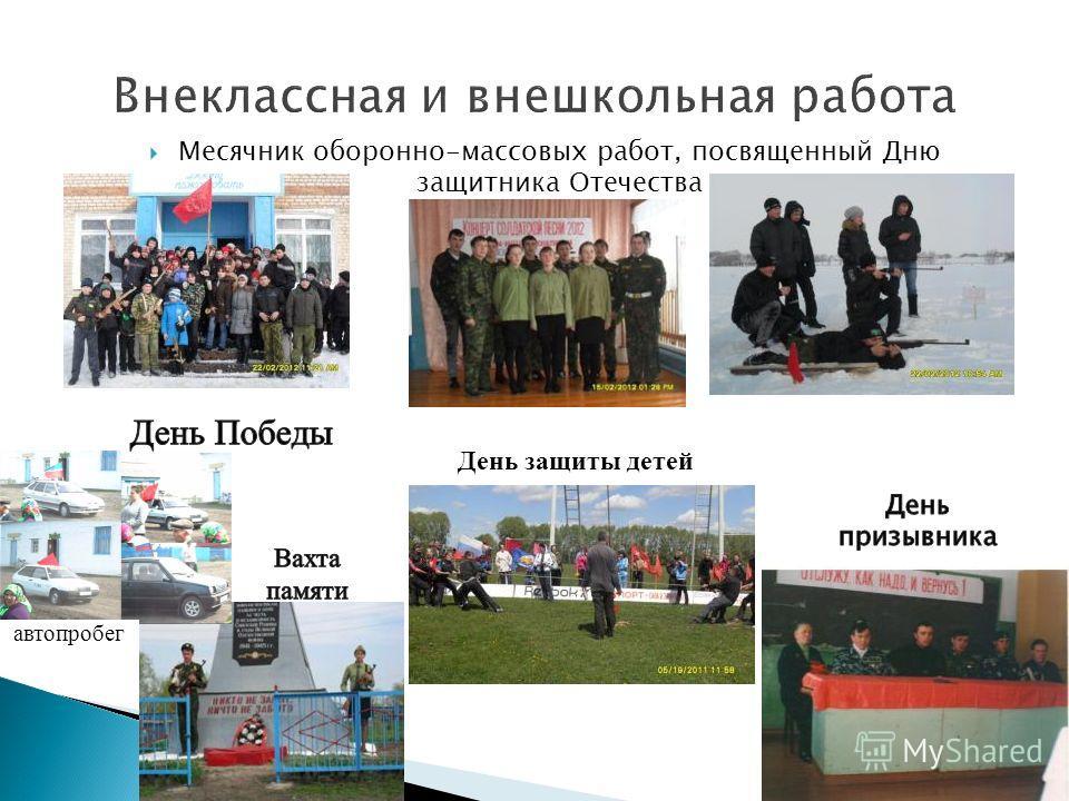 Месячник оборонно-массовых работ, посвященный Дню защитника Отечества День защиты детей автопробег