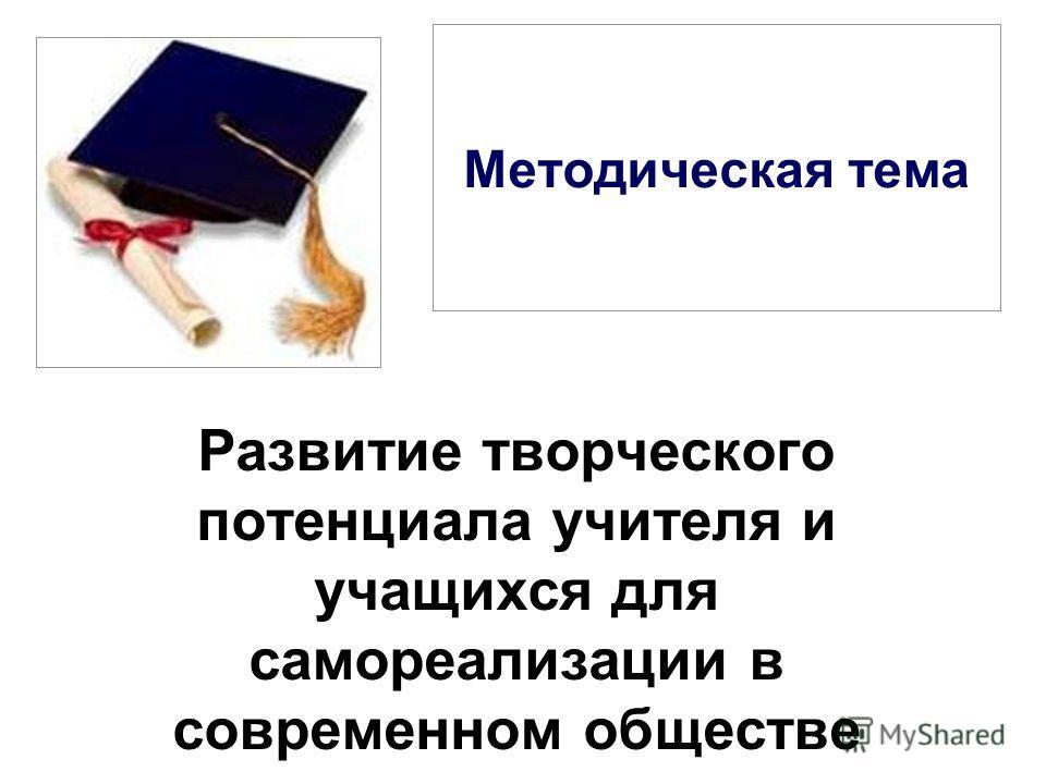 Методическая тема Развитие творческого потенциала учителя и учащихся для самореализации в современном обществе