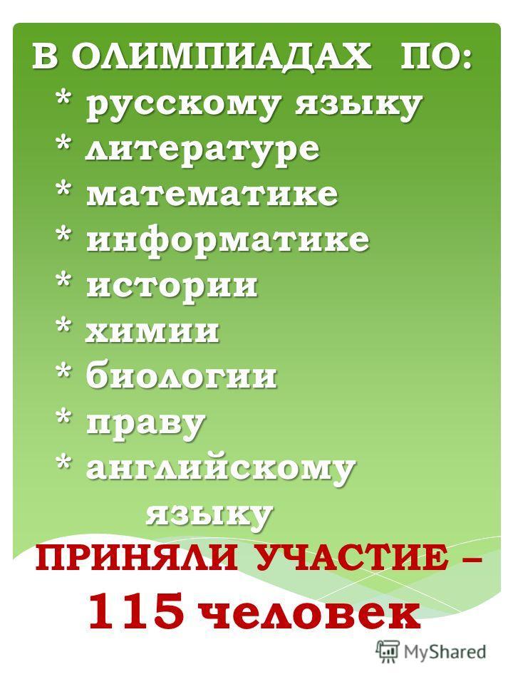 В ОЛИМПИАДАХ ПО: * русскому языку * литературе * математике * информатике * истории * химии * биологии * праву * английскому языку языку ПРИНЯЛИ УЧАСТИЕ – 115 человек