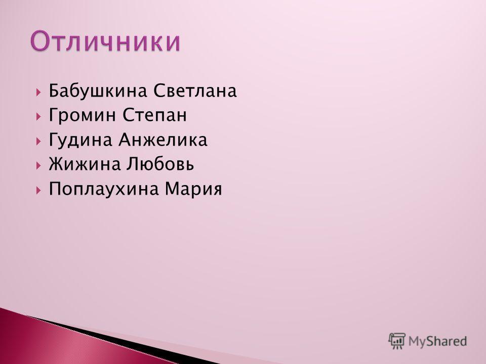 Бабушкина Светлана Громин Степан Гудина Анжелика Жижина Любовь Поплаухина Мария