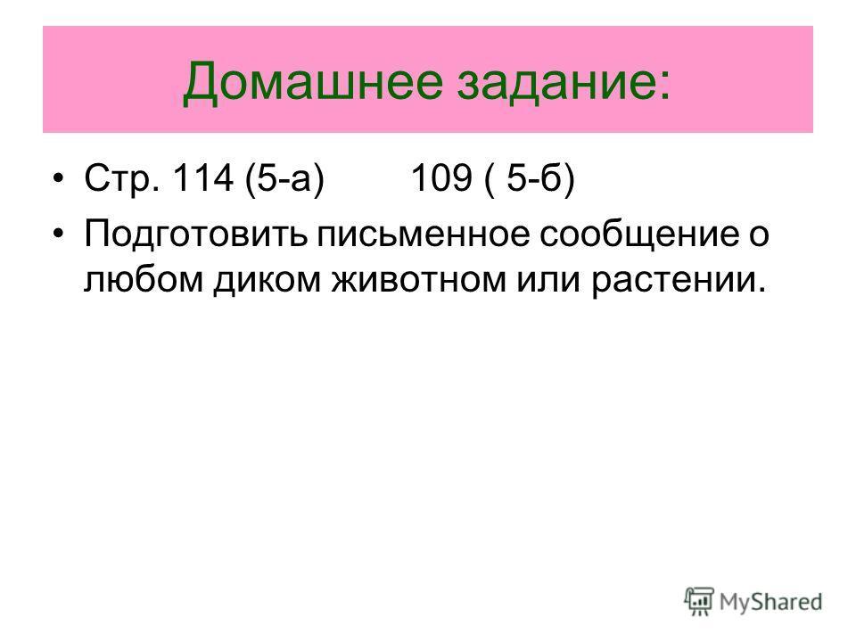 Домашнее задание: Стр. 114 (5-а) 109 ( 5-б) Подготовить письменное сообщение о любом диком животном или растении.