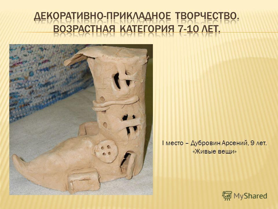 I место – Дубровин Арсений, 9 лет. «Живые вещи»