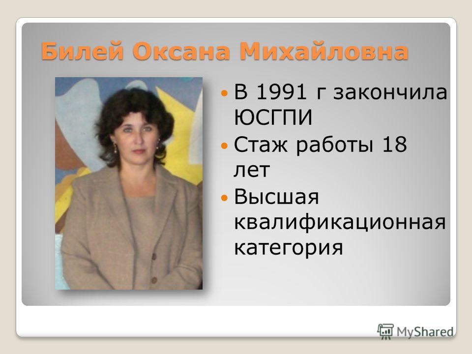 Билей Оксана Михайловна В 1991 г закончила ЮСГПИ Стаж работы 18 лет Высшая квалификационная категория