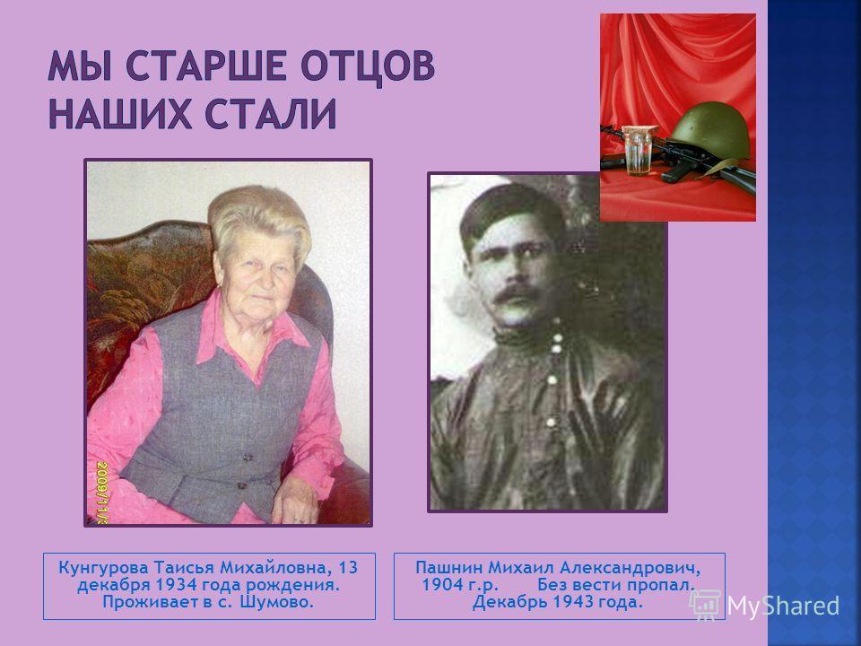 Кунгурова Таисья Михайловна, 13 декабря 1934 года рождения. Проживает в с. Шумово. Пашнин Михаил Александрович, 1904 г.р. Без вести пропал. Декабрь 1943 года.