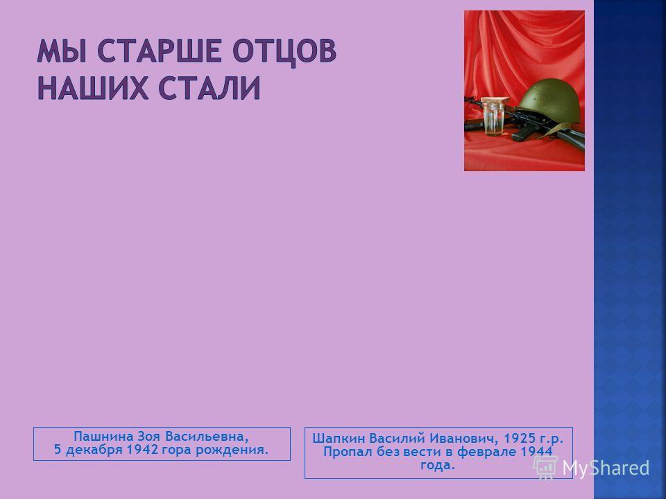 Пашнина Зоя Васильевна, 5 декабря 1942 гора рождения. Шапкин Василий Иванович, 1925 г.р. Пропал без вести в феврале 1944 года.