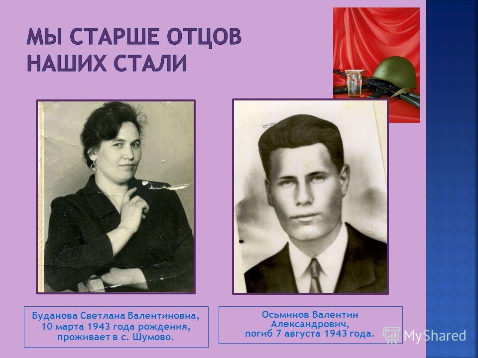 Буданова Светлана Валентиновна, 10 марта 1943 года рождения, проживает в с. Шумово. Осьминов Валентин Александрович, погиб 7 августа 1943 года.