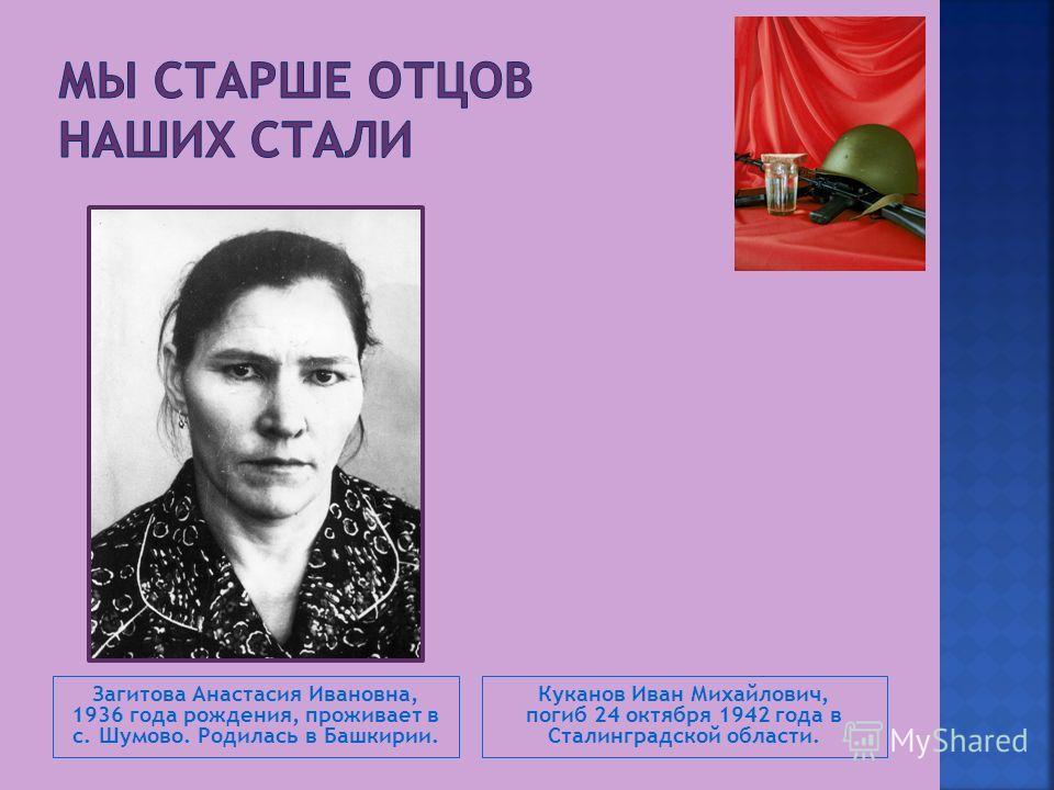 Загитова Анастасия Ивановна, 1936 года рождения, проживает в с. Шумово. Родилась в Башкирии. Куканов Иван Михайлович, погиб 24 октября 1942 года в Сталинградской области.
