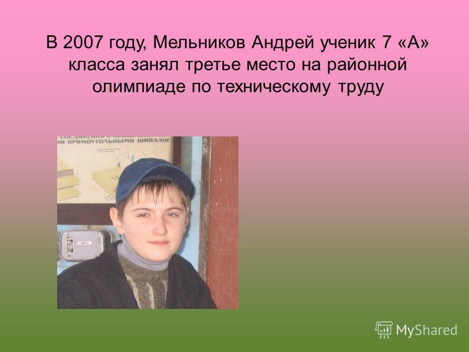 В 2007 году, Мельников Андрей ученик 7 «А» класса занял третье место на районной олимпиаде по техническому труду