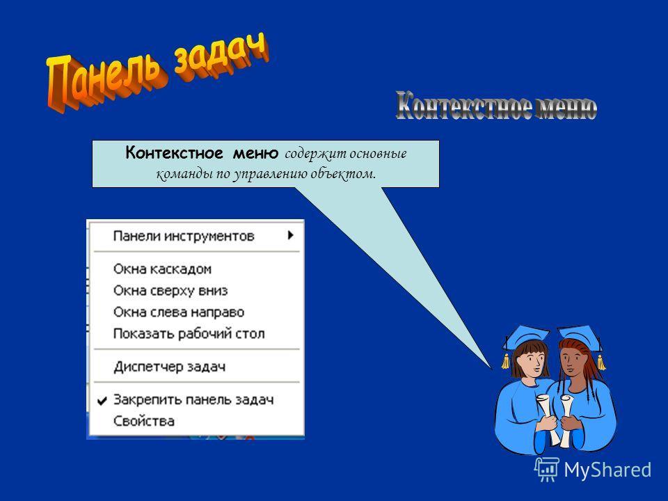 Контекстное меню содержит основные команды по управлению объектом.