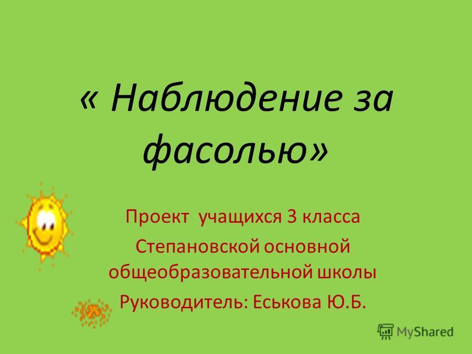 « Наблюдение за фасолью» Проект учащихся 3 класса Степановской основной общеобразовательной школы Руководитель: Еськова Ю.Б.